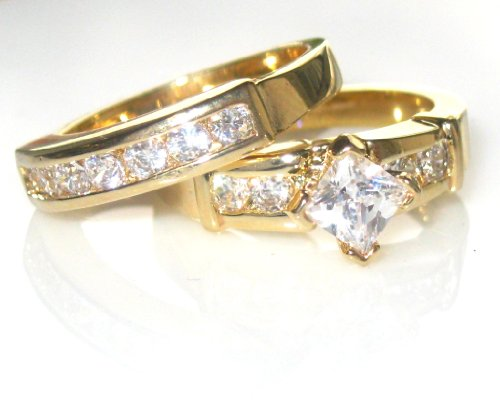 1.85ct Women's princess cut side setting Swarovski ring and band. Outstanding quality set. 24k gold electroplated.