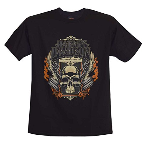 Harley-Davidson Men's T-Shirt, Skull Pipes Short Sleeve Tee, Black 30291454 (M)