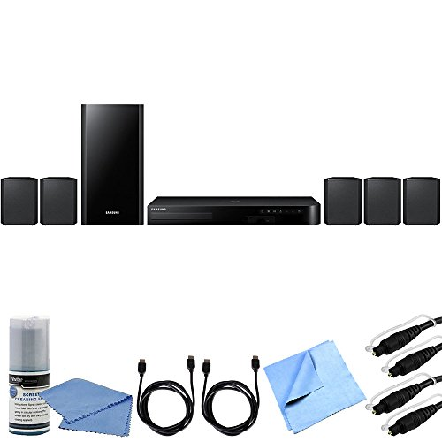 Samsung HT-J4500 - 5.1ch 500 Watt Smart 3D Blu-Ray Home Theater System Bundle includes 5.1ch 500 Watt Smart 3D Blu-Ray Home Theater System, Screen Cleaning Kit, 6ft Optical Audio Cable x 2, 6' HDMI Cable x 2 and Microfiber Cloth
