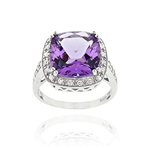 Sterling Silver 6.05ct. Amethyst & CZ Square Cocktail Ring Size 7