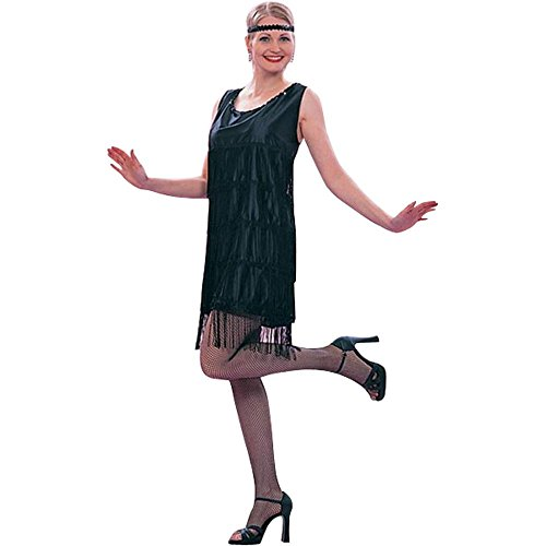 Ladies Roaring 20s Black Flapper Dress Costume (Size: Standard 8-12)