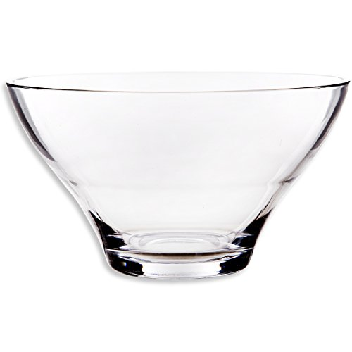 Large round glass salad bowl tabletop serving
