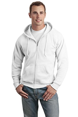 Hanes Adult ComfortBlend® EcoSmart® Full-Zip Hood - White - L