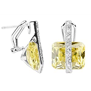 Click to buy Canary Yellow Diamond CZ Firebolt Sterling Silver Earrings from Amazon!