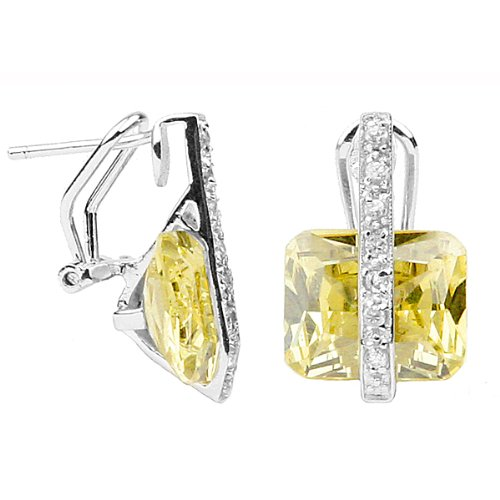 Canary Yellow Diamond CZ Firebolt Sterling Silver Earrings