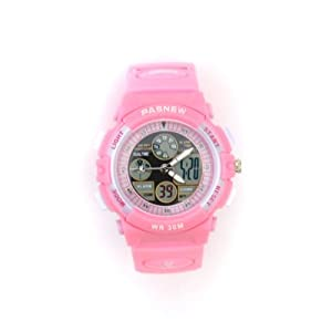 PASNEW ANA-DIGI Waterproof-30M Shock-Proof Anti-Magnetic EL-Backlit Multi-Function Children Girl Sport Watch #048G (Pink)