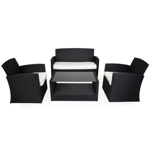 NAPPOR 4PC Outdoor Garden Rattan Wicker Conservatory Sofa Patio Furniture Set - Black