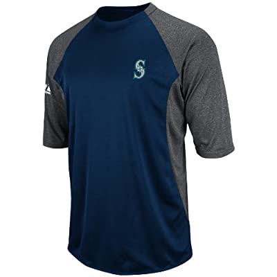 MLB Seattle Mariners 3/4 Sleeve Featherweight Tech Fleece Pullover, Navy/Grey
