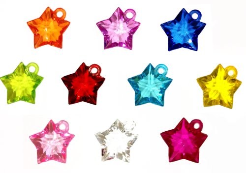 Pack of 10 Dazzling Star Loom Charms for Rubber Band Loom Bracelets (S)