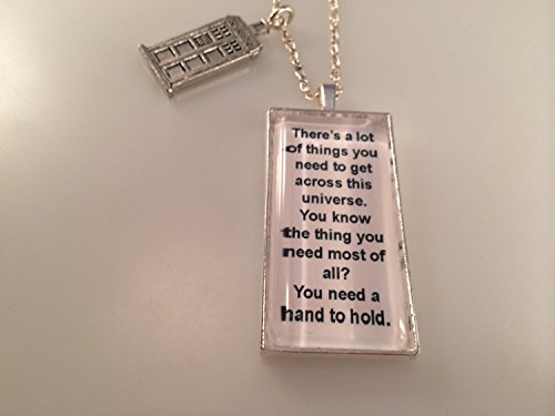 Exclusive Doctor Who TARDIS Charmed Interpreted Quote Necklace, TARDIS Jewelry, Hand to Hold Pendant from Urban Industries