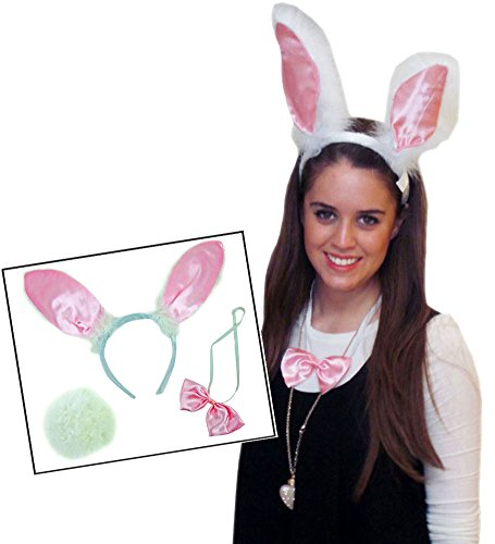 Plush Bunny Ears With Bow And Tail - Costum Rabbit Headband, Tail and Bow tie