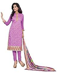 Women's Purple Embroidered Chanderi Semi Stitched Salwar Suit