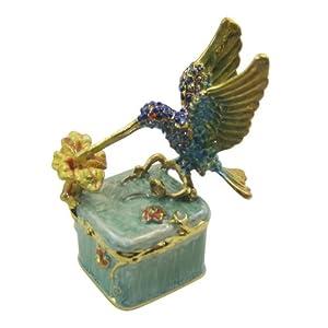 Hummingbird on Box Bejeweled Collectible Trinket Jewelry Box