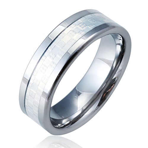 Men'S Tungsten Carbide Ring Band Simple Unique Male Guys High End Polished