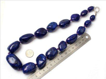 16--30mm graduated lapis lazuli beads strand necklace 18