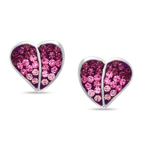 Bling Jewelry Childrens Heart Stud Sterling Silver Pink CZ Earrings