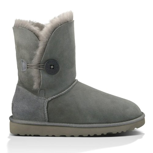 UGG Australia Women's Bailey Button Grey Sheepskin Boots 8 B(M) US