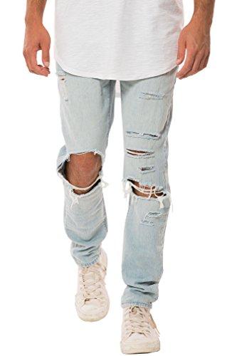 Elwood Men's Destructed Ripped Denim Slim Pant (32, Light Indigo) (Elwood Pants compare prices)