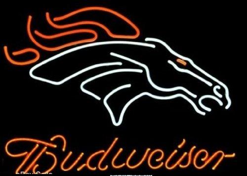 NFL Denver Broncos Football Sports Budweiser Beer Bar Neon Light Sign Real Glass Tube 19'x15'' Handcrafted