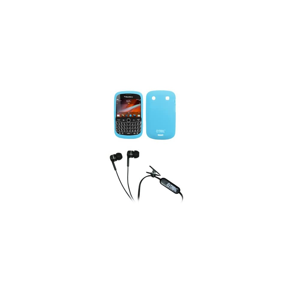 EMPIRE Light Blue Silicone Skin Case Cover + Stereo Hands Free 3.5mm Headset Headphones for Verizon BlackBerry Bold 9930