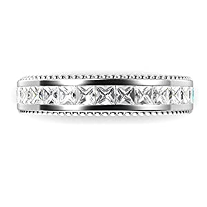 Sz 8 Sterling Silver 925 Princess Cut Cubic Zirconia CZ Milgrain Eternity Band Ring from Metal Factory