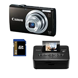 Canon PowerShot A2400 IS (Black) 16.0 MP Digital Camera Bundle with Canon SELPHY CP900 Black Wireless Photo Printer & 8 GB SD Card