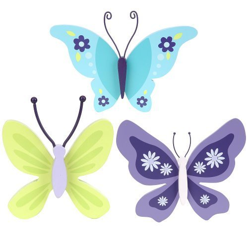 NoJo Beautiful Butterfly 3 Piece Wall Decor - 1