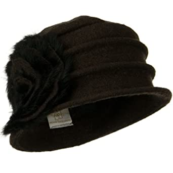 d0db2d8c5eafa Wool Felt Hat with Big Fur Flower Ribbon Dark Brown OSFM Clothing ...
