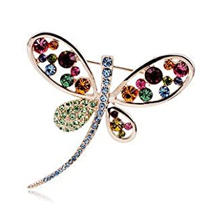 Luxury Dragonfly Brooch Swarovski Crystals 18ct real gold plated Free gift box