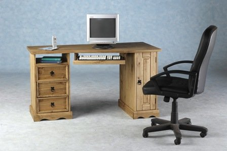 Computer Desk Pine Wood Kaden Wave Pine Computer Desk