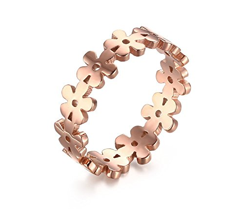 Vnox Womens Stainless Steel Filigree Jewelry Flower Shape Engagement Promise Band Ring Rose Gold,Size 5 (Filigree Engagement Ring compare prices)