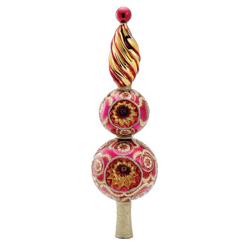 Kurt Adler Glass Faberge Santa Finial Treetop, 16.1-Inch