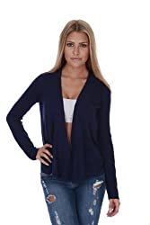 Open Front Flyaway Long Sleeves Casual Knit Cardigan (Small, Navy)