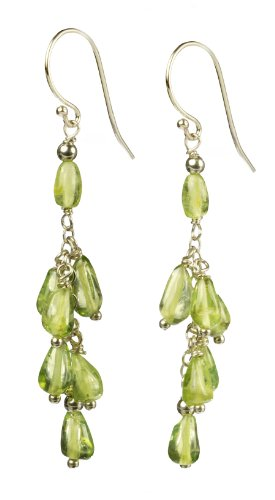 Peridot Drop Clusters on Sterling Silver Chain Earrings