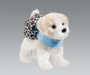 Douglas Toys Adele Shih-Tzu Plush Dog with Blue Cheetah Coat