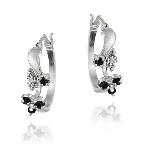 Sterling Silver Sapphire & Diamond Accent Flower Hoop Earrings