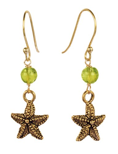 Starfish Charm with Peridot Vermeil Fishhook Earrings