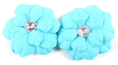 Blue Flower Style Shaped 3 Inch Hoop Earrings Iced Out Basketball Mob Wives Paparazzi