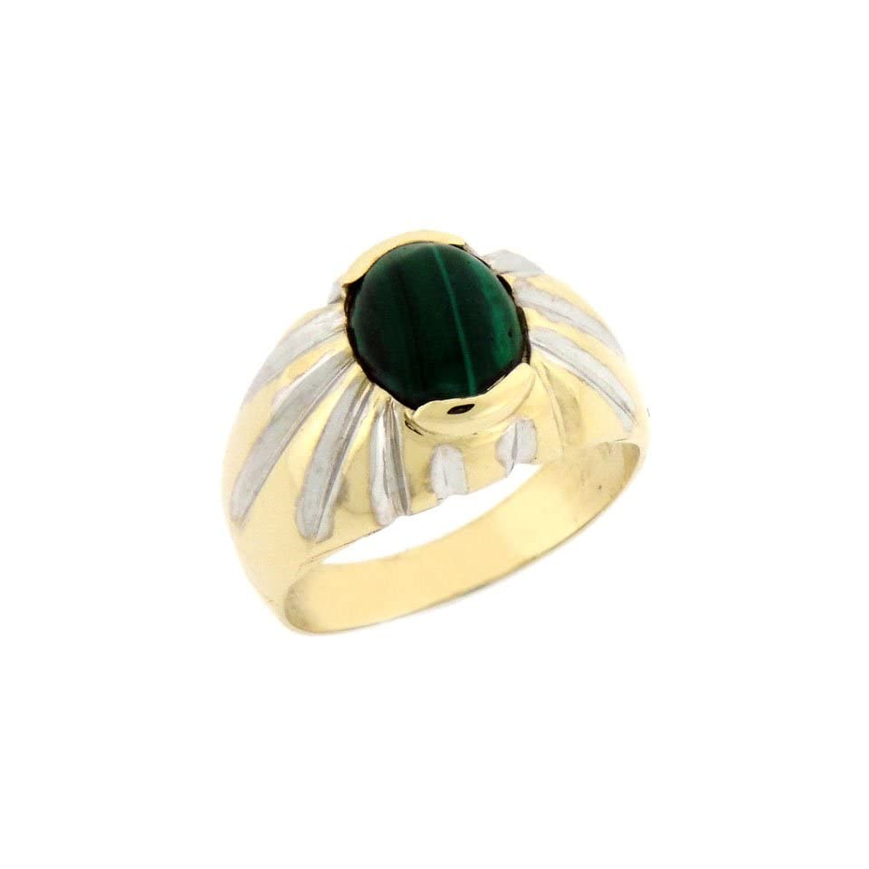 14K Solid Yellow Gold Oval Malachite Mens Ring