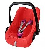 ByBoom� - Funda hecha al morbido pile doppio, funda universal para portabeb�s (Mois�s), asiento de coche, por ejemplo, Maxi-Cosi Cabrio Fix, Pebble, City SPS, Color:Rojo