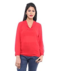 Avakasa Polyester Red Solids Partywear Full Sleeves Top (top-06-red)
