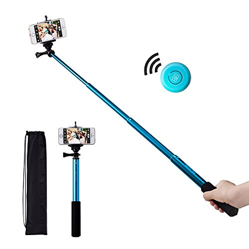 Bluetooth Selfie Stick, Benuo [Self Portrait Helper] [New Release] Premium Extendable Selfie Pole Monopod With Wireless Bluetooth Remote Shutter For Iphone 6 / 6 Plus 5S, Samsung, Camera And Other Ios & Android Phones (Blue)