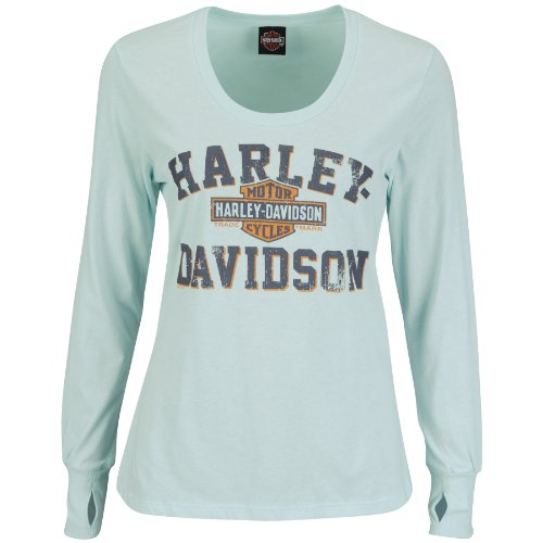 Harley-Davidson® Womens Classic Soul Scoop Neck With Thumbholes Blue Long Sleeve T-Shirt (Small)