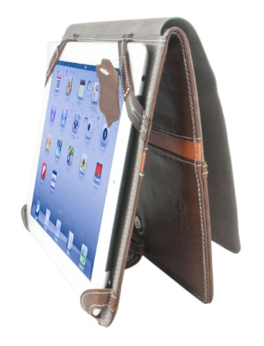 Starlite 100% Real Leather Executive Brown IPAD 1 & 2 COVER Folio Wallet