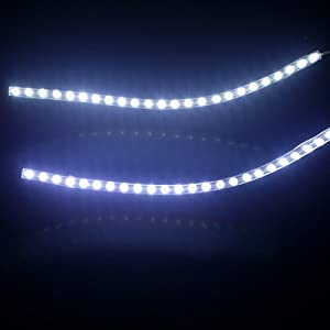 HDE 9 Inch 24 White LED Waterproof Flexible Light Strip for Cars and Trucks - 1 Pair