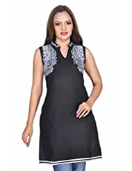 Kirti's Cotton Cotton Kurtis - Black (F062_2)