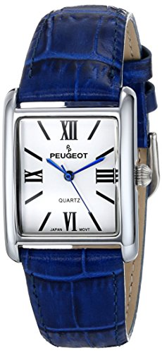 peugeot-womens-silver-tone-classic-blue-leather-strap-watch