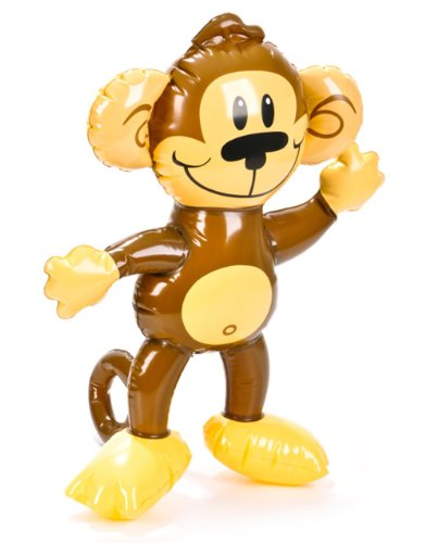 "18"" Cute Brown Tan Inflatable Monkey Zoo Animal Party Decoration"