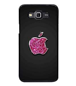 Fuson Premium 2D Back Case Cover Pink designed apple With Black Background Degined For Samsung Galaxy E5::Samsung Galaxy E5 E500F