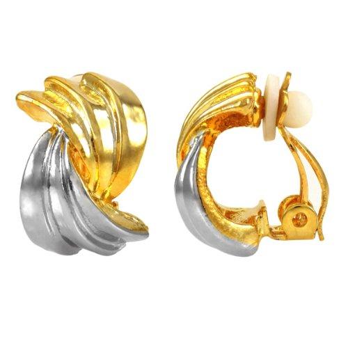 Oakley's Petite Half Hoop Clip On Earrings - Two Tone